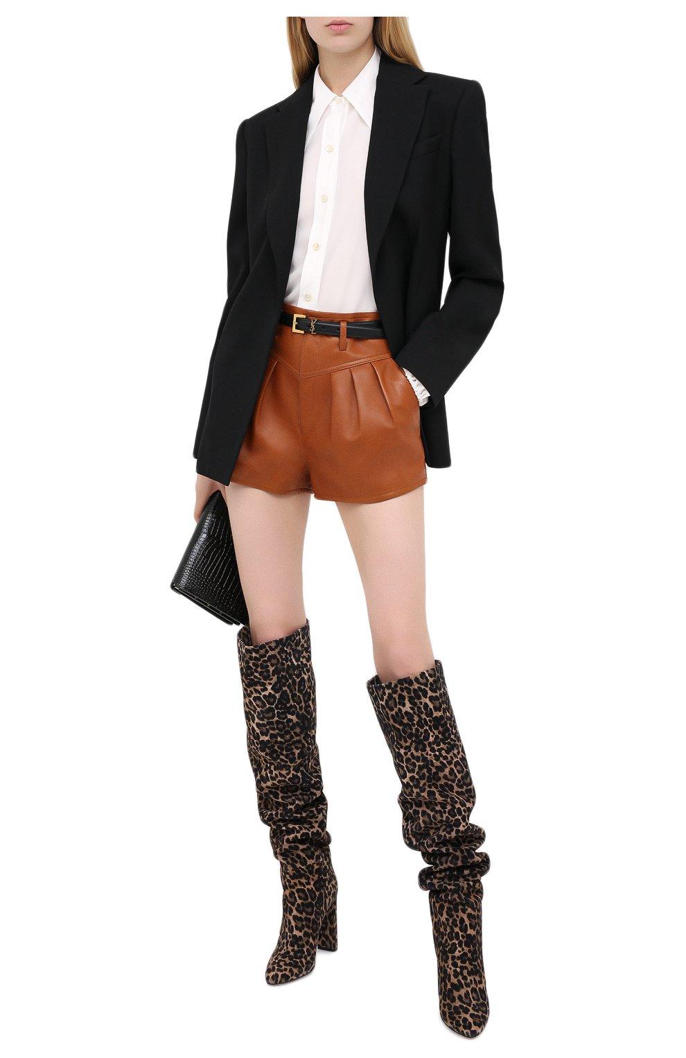 Женские кожаные шорты SAINT LAURENT коричневого цвета, арт. 630199/Y50A2   Фото 2 (Женское Кросс-КТ: Шорты-одежда; Длина Ж (юбки, платья, шорты): Мини; Материал подклада: Купро)