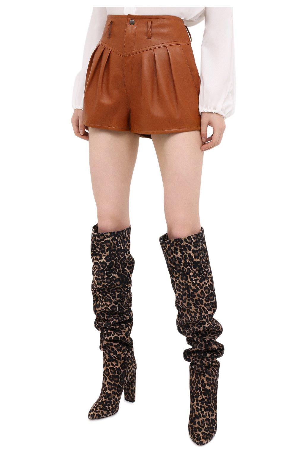 Женские кожаные шорты SAINT LAURENT коричневого цвета, арт. 630199/Y50A2   Фото 3 (Женское Кросс-КТ: Шорты-одежда; Длина Ж (юбки, платья, шорты): Мини; Материал подклада: Купро)