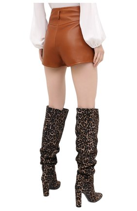 Женские кожаные шорты SAINT LAURENT коричневого цвета, арт. 630199/Y50A2   Фото 4 (Женское Кросс-КТ: Шорты-одежда; Длина Ж (юбки, платья, шорты): Мини; Материал подклада: Купро)