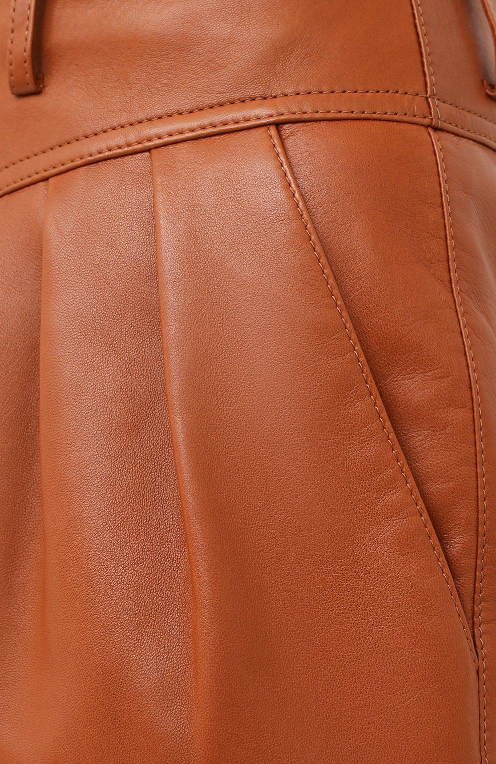 Женские кожаные шорты SAINT LAURENT коричневого цвета, арт. 630199/Y50A2   Фото 5 (Женское Кросс-КТ: Шорты-одежда; Длина Ж (юбки, платья, шорты): Мини; Материал подклада: Купро)
