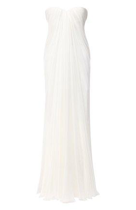 Женское шелковое платье ALEXANDER MCQUEEN белого цвета, арт. 612662/QBAAB   Фото 1