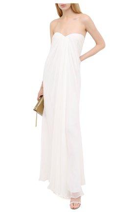 Женское шелковое платье ALEXANDER MCQUEEN белого цвета, арт. 612662/QBAAB   Фото 2