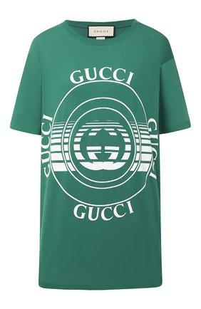 Женская хлопковая футболка GUCCI зеленого цвета, арт. 615044/XJCQ8 | Фото 1