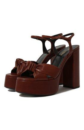 Женские кожаные босоножки bianca SAINT LAURENT коричневого цвета, арт. 606713/00J00 | Фото 1