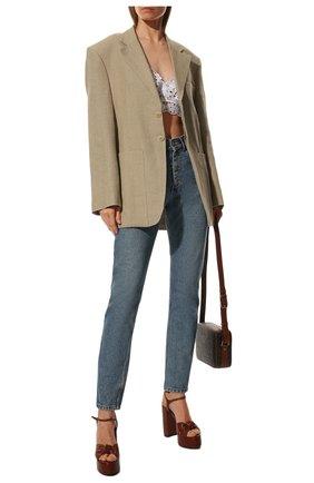 Женские кожаные босоножки bianca SAINT LAURENT коричневого цвета, арт. 606713/00J00 | Фото 2