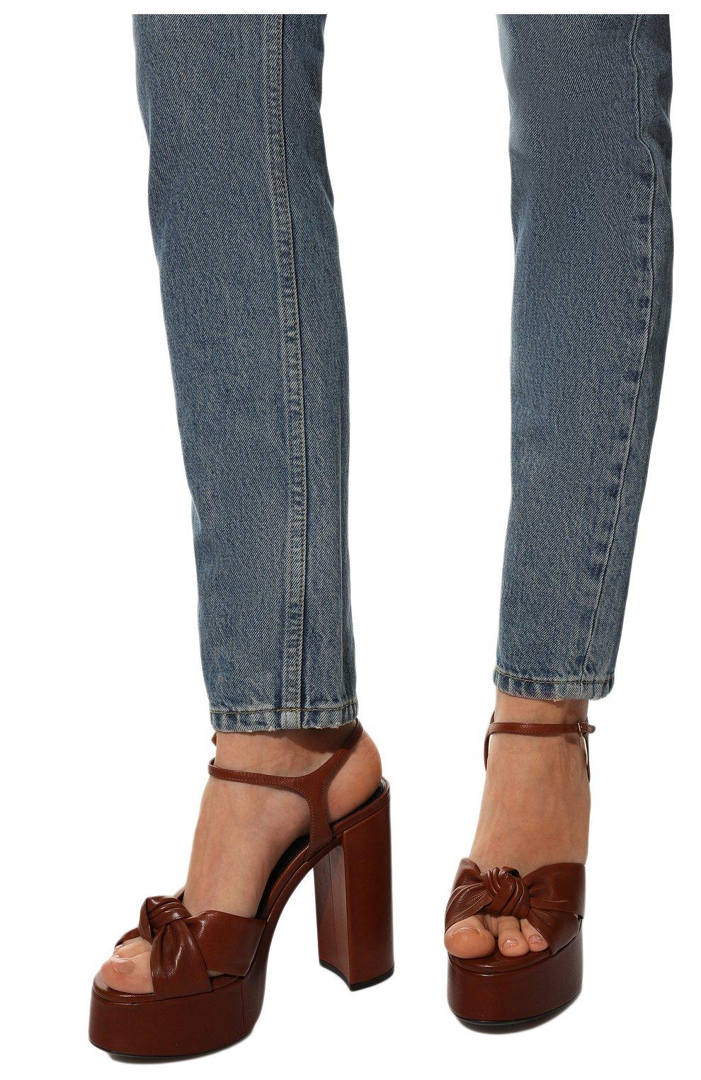 Женские кожаные босоножки bianca SAINT LAURENT коричневого цвета, арт. 606713/00J00 | Фото 3