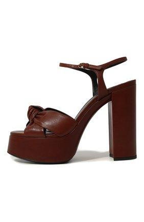 Женские кожаные босоножки bianca SAINT LAURENT коричневого цвета, арт. 606713/00J00 | Фото 4