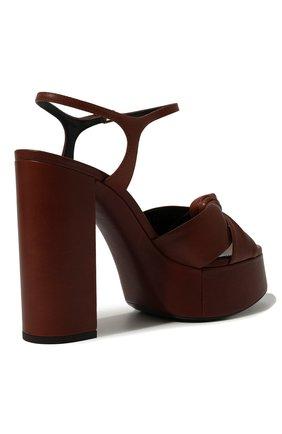 Женские кожаные босоножки bianca SAINT LAURENT коричневого цвета, арт. 606713/00J00 | Фото 5