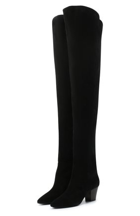 Женские замшевые ботфорты kim SAINT LAURENT черного цвета, арт. 630897/1NZ00 | Фото 1