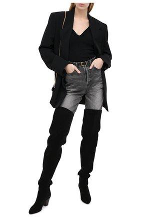 Женские замшевые ботфорты kim SAINT LAURENT черного цвета, арт. 630897/1NZ00 | Фото 2