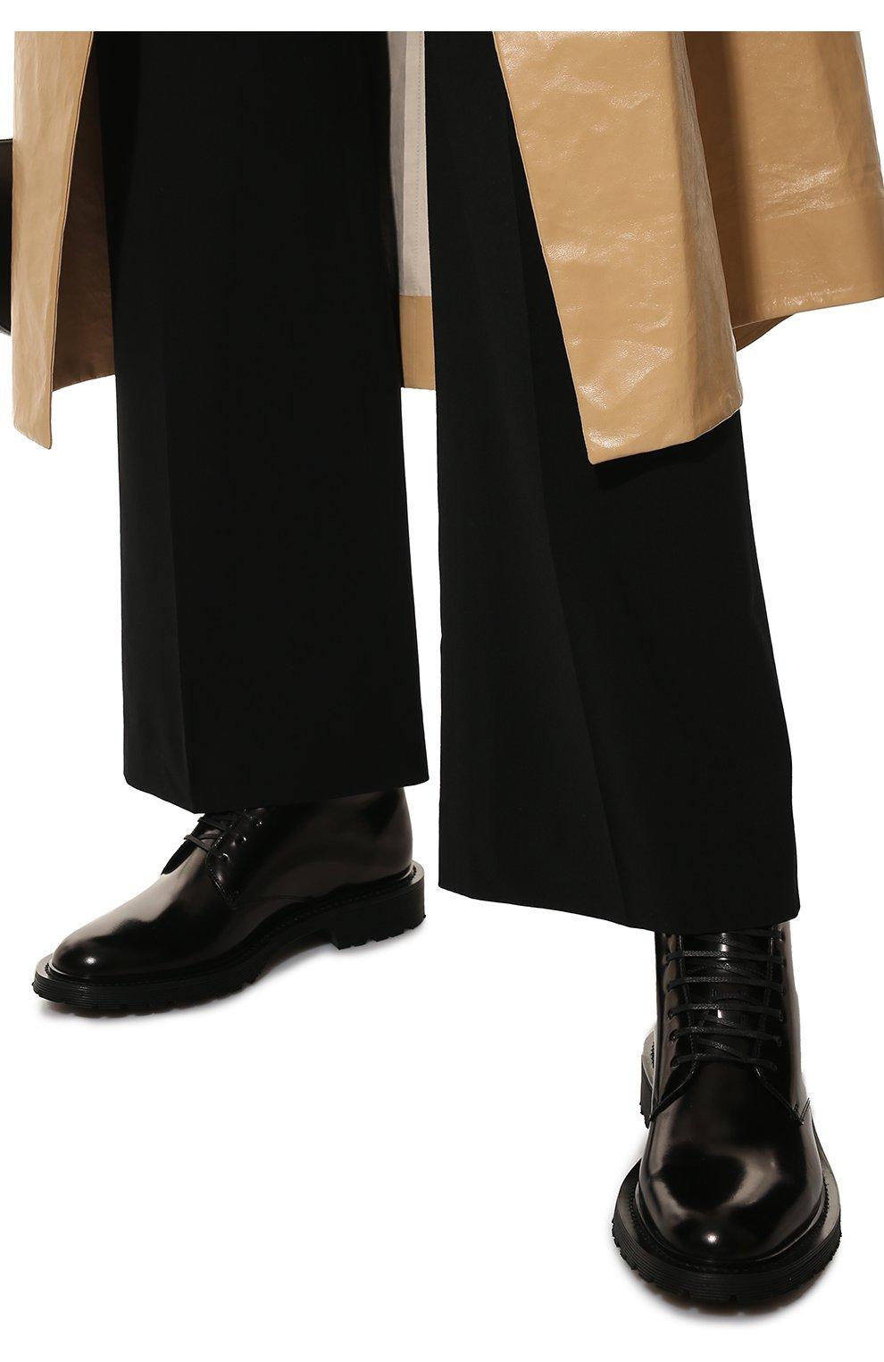 Женские кожаные ботинки army SAINT LAURENT черного цвета, арт. 632412/1Y000   Фото 3
