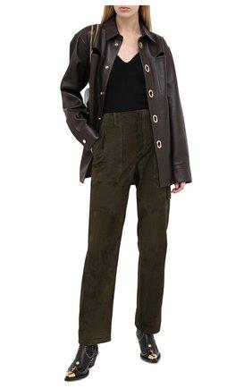 Женские замшевые брюки TOM FORD хаки цвета, арт. PAL704-LEX226 | Фото 2