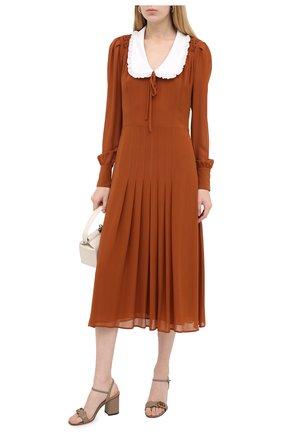 Женские кожаные босоножки marmont GUCCI бежевого цвета, арт. 453379/A3N00 | Фото 2 (Материал внутренний: Натуральная кожа; Каблук тип: Устойчивый; Подошва: Плоская; Каблук высота: Высокий)