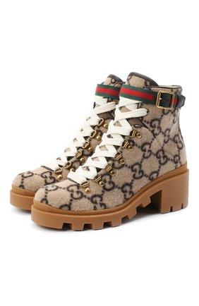 Женские текстильные ботинки trip GUCCI коричневого цвета, арт. 578585/G38H0 | Фото 1