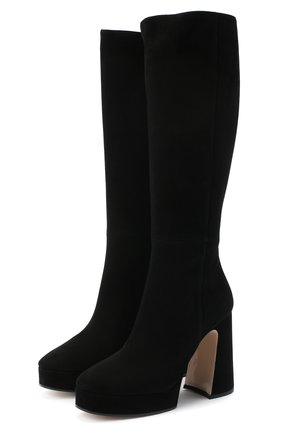 Женские замшевые сапоги madame GUCCI черного цвета, арт. 616603/C2000 | Фото 1
