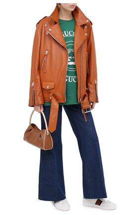 Женские кожаные кеды new ace GUCCI белого цвета, арт. 630616/1XG60 | Фото 2 (Материал внешний: Кожа; Материал внутренний: Натуральная кожа; Подошва: Платформа)