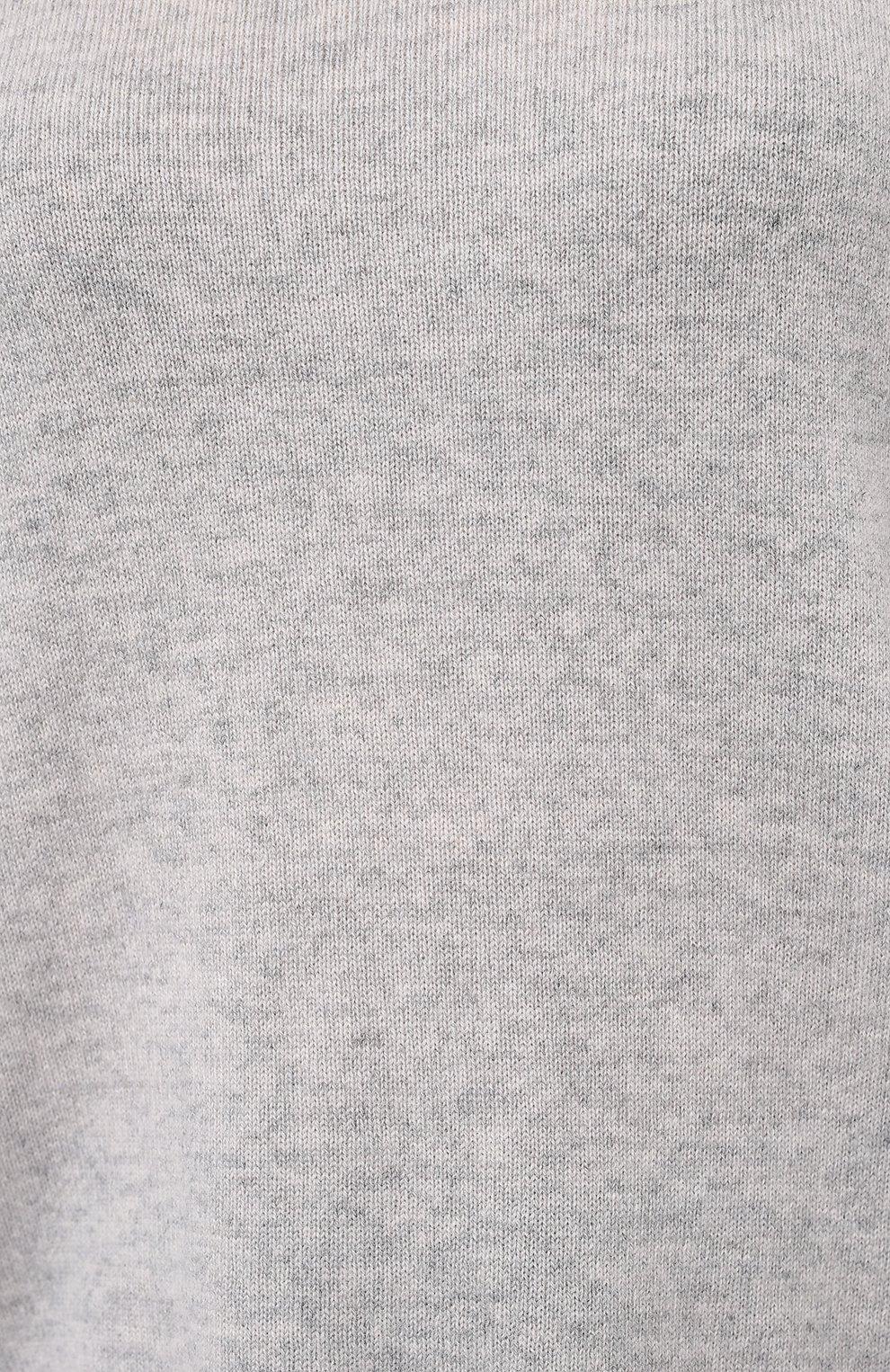Женский кашемировый свитер ALLUDE серого цвета, арт. 205/11113 | Фото 5 (Женское Кросс-КТ: Свитер-одежда; Материал внешний: Шерсть, Кашемир; Рукава: Длинные; Длина (для топов): Стандартные; Стили: Классический, Минимализм, Кэжуэл)