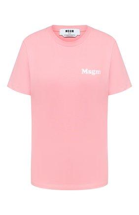 Женская хлопковая футболка MSGM розового цвета, арт. 2943MDM73 207648 | Фото 1
