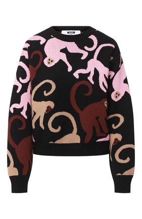 Женская хлопковый пуловер MSGM черного цвета, арт. 2943MDM114 207633 | Фото 1