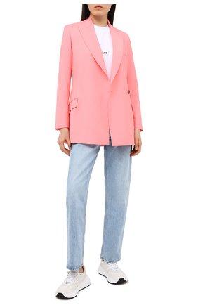 Женский шерстяной жакет MSGM розового цвета, арт. 2943MDG04 207601 | Фото 2