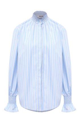 Женская хлопковая рубашка MSGM голубого цвета, арт. 2943MDE01 207602 | Фото 1