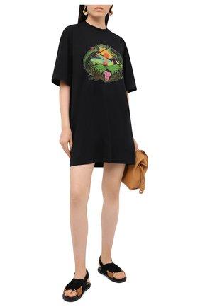 Женское хлопковое платье MSGM черного цвета, арт. 2943MDA63 207648 | Фото 2