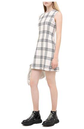 Женское хлопковое платье MSGM белого цвета, арт. 2943MDA21X 207606 | Фото 2