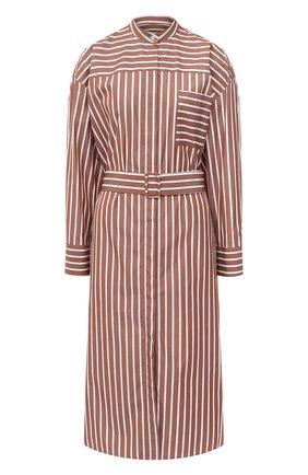 Женское хлопковое платье MSGM коричневого цвета, арт. 2943MDA02 207602 | Фото 1