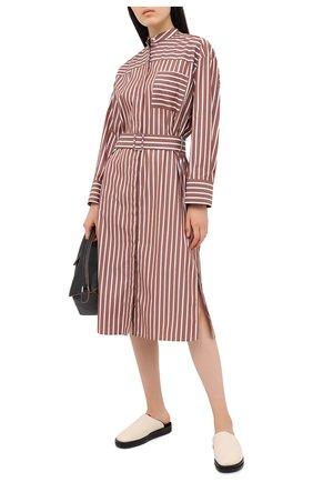 Женское хлопковое платье MSGM коричневого цвета, арт. 2943MDA02 207602 | Фото 2