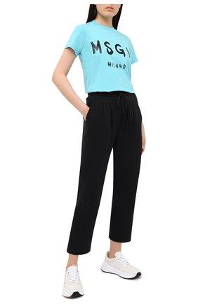 Женские хлопковые брюки MSGM черного цвета, арт. 2941MDP62 207799 | Фото 2