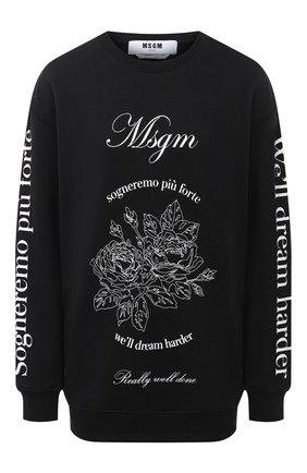Женская хлопковый свитшот MSGM черного цвета, арт. 2941MDM99 207799 | Фото 1