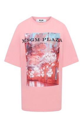 Женская хлопковая футболка MSGM розового цвета, арт. 2941MDM187 207798 | Фото 1