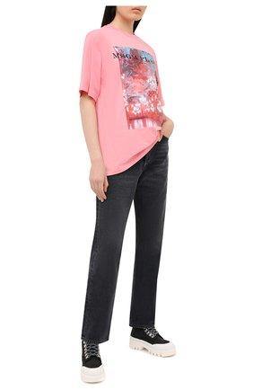 Женская хлопковая футболка MSGM розового цвета, арт. 2941MDM187 207798 | Фото 2