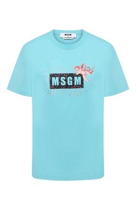 Женская хлопковая футболка MSGM голубого цвета, арт. 2941MDM181 207798 | Фото 1