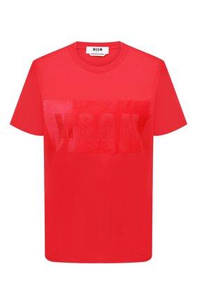 Женская хлопковая футболка MSGM красного цвета, арт. 2941MDM169 207798 | Фото 1