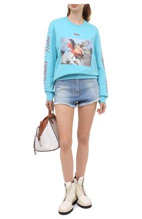 Женская хлопковый свитшот MSGM голубого цвета, арт. 2941MDM160 207799 | Фото 2