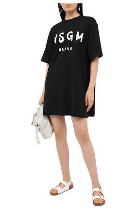 Женское хлопковое платье MSGM черного цвета, арт. 2941MDA68 207798 | Фото 2