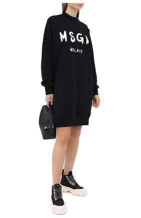Женское хлопковое платье MSGM черного цвета, арт. 2941MDA67 207799 | Фото 2