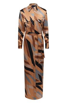 Женское шелковое платье KITON коричневого цвета, арт. D47321K05T81 | Фото 1