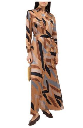 Женское шелковое платье KITON коричневого цвета, арт. D47321K05T81 | Фото 2