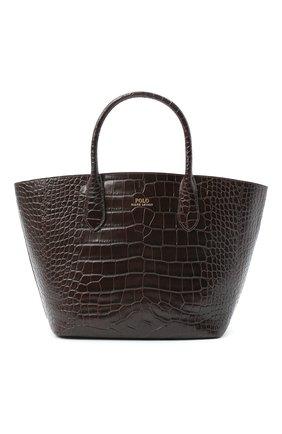 Женская сумка-тоут POLO RALPH LAUREN темно-коричневого цвета, арт. 428751507 | Фото 1