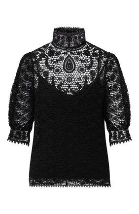 Женская хлопковая блузка POLO RALPH LAUREN черного цвета, арт. 211801108 | Фото 1