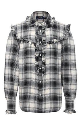 Женская рубашка из хлопка и вискозы POLO RALPH LAUREN черно-белого цвета, арт. 211801104 | Фото 1