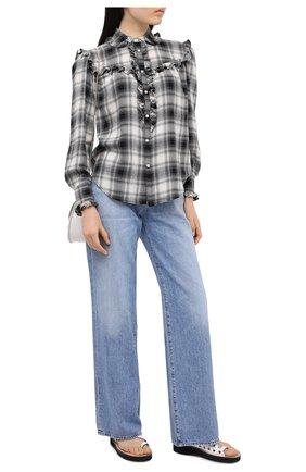 Женская рубашка из хлопка и вискозы POLO RALPH LAUREN черно-белого цвета, арт. 211801104 | Фото 2