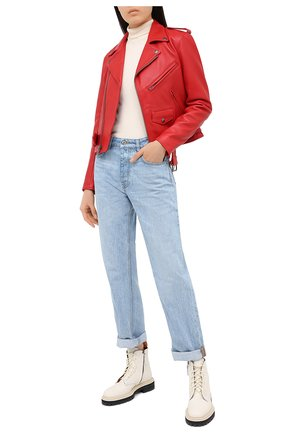 Женская кожаная куртка POLO RALPH LAUREN красного цвета, арт. 211753241 | Фото 2