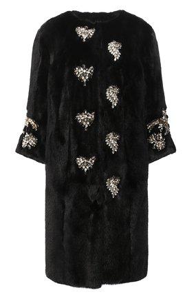 Женская шуба из меха норки DOLCE & GABBANA черного цвета, арт. 0102/F0P25F/FUPLH | Фото 1
