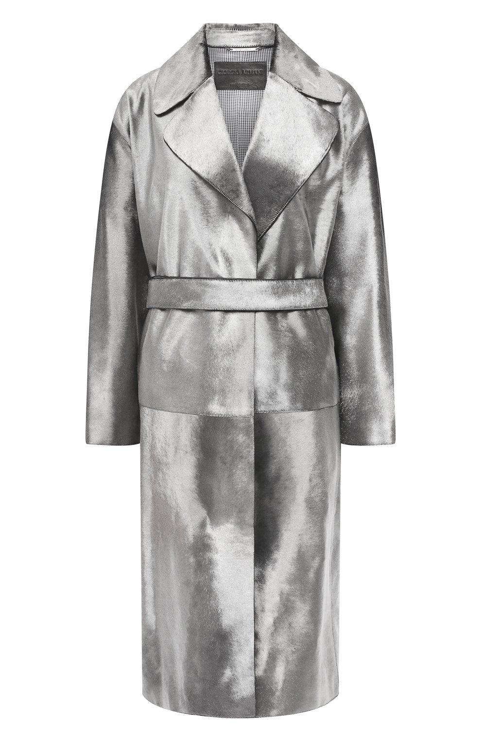 Женское меховое пальто с поясом GIORGIO ARMANI серебряного цвета, арт. 1AL04P/1AP12   Фото 1