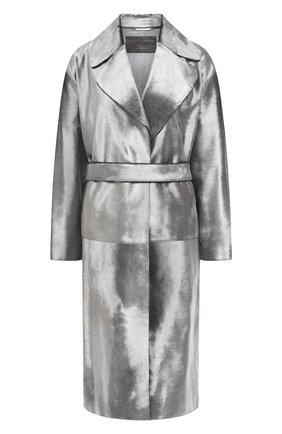 Женское меховое пальто с поясом GIORGIO ARMANI серебряного цвета, арт. 1AL04P/1AP12 | Фото 1