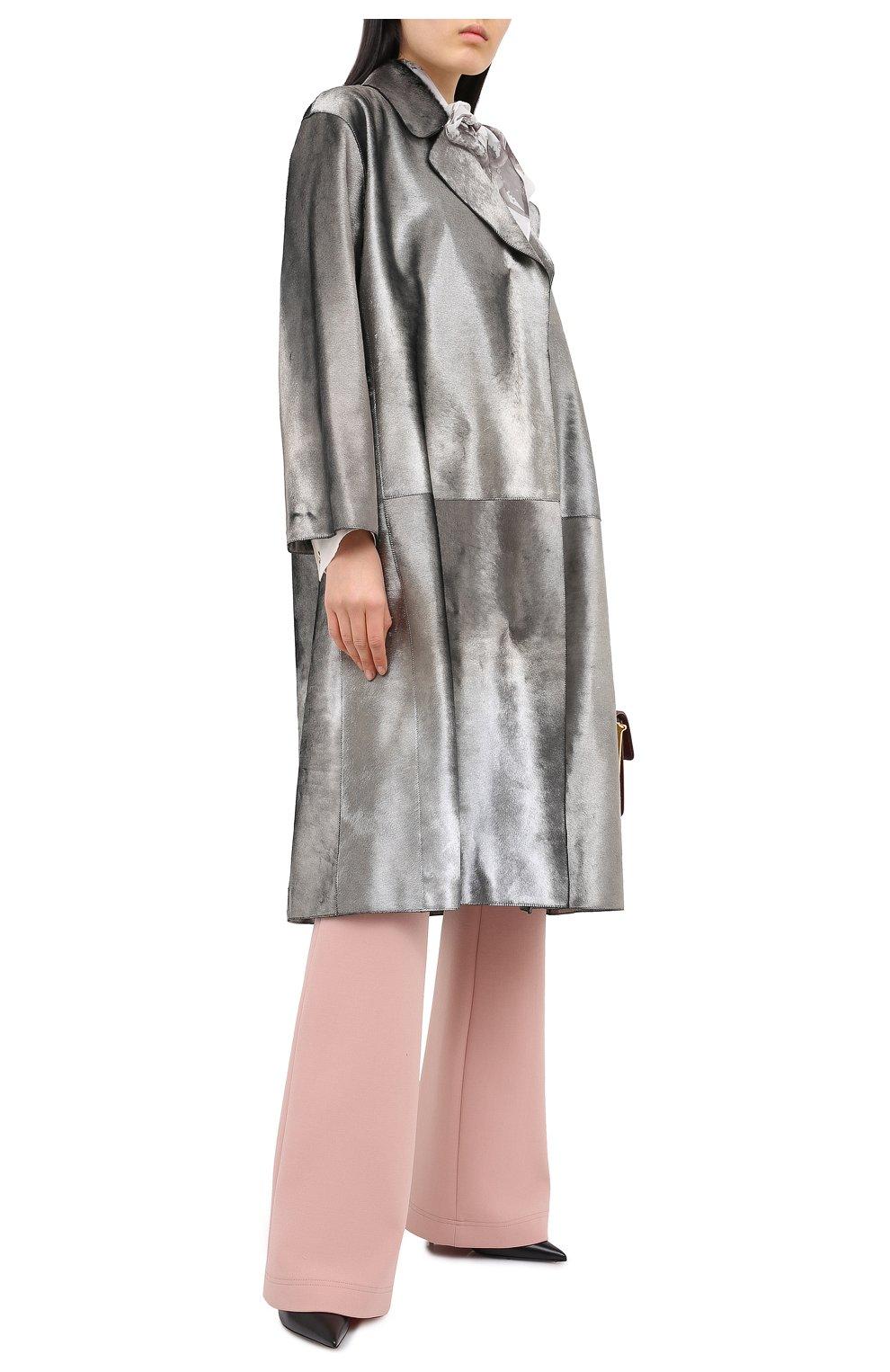 Женское меховое пальто с поясом GIORGIO ARMANI серебряного цвета, арт. 1AL04P/1AP12   Фото 2