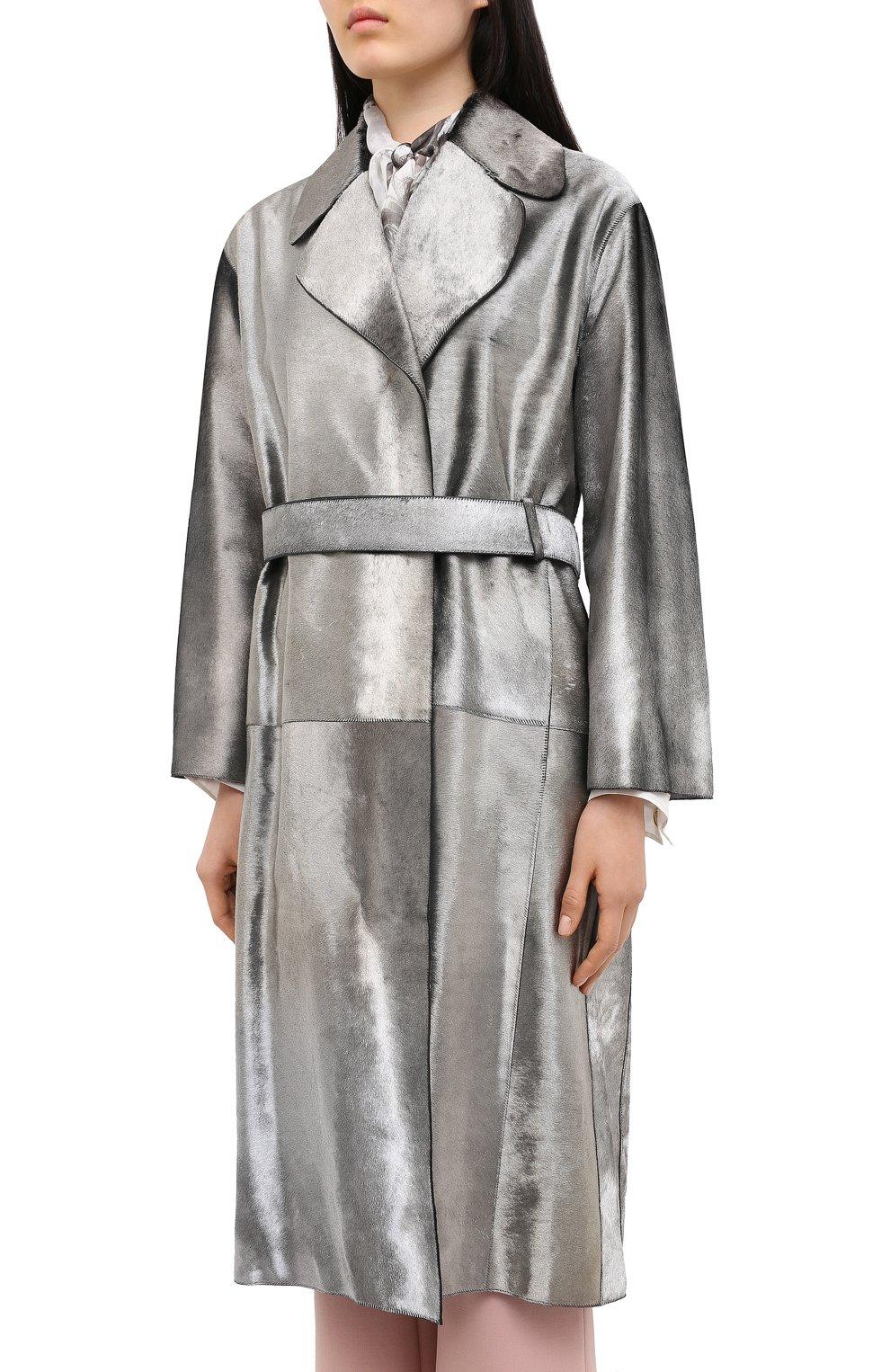 Женское меховое пальто с поясом GIORGIO ARMANI серебряного цвета, арт. 1AL04P/1AP12   Фото 3